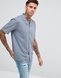Однотонная рубашка с отложным воротником и короткими рукавами Another Influence - Синий