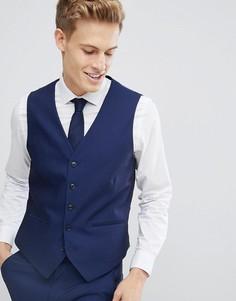 Приталенный жилет под смокинг Burton Menswear - Синий