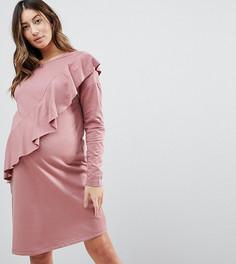 Трикотажное платье с оборкой ASOS MATERNITY - Розовый