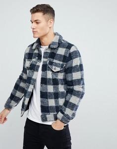 Серая куртка в стиле вестерн из искусственного меха в клетку ASOS - Серый