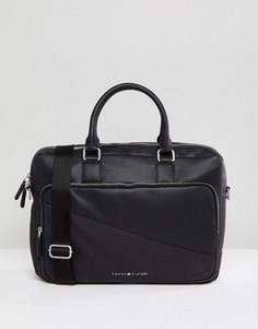 Черная сумка для ноутбука из искусственной кожи Tommy Hilfiger - Черный