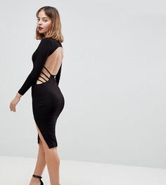 Облегающее платье миди с открытой спиной ASOS PETITE - Черный