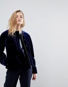 Теплая бархатная куртка укороченного кроя Y.A.S - Синий