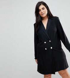 Платье в стиле смокинга с пуговицами из искусственного жемчуга ASOS CURVE Ultimate - Черный