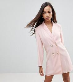 Платье с жемчужными пуговицами ASOS PETITE ULTIMATE - Розовый