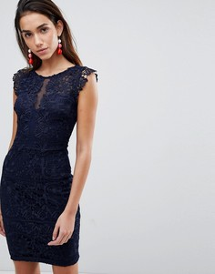 Кружевное платье с оборками на рукавах Michelle Keegan Loves Lipsy - Темно-синий