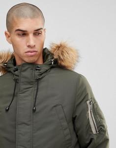 Дутая куртка со съемной отделкой из искусственного меха на капюшоне Only & Sons - Синий