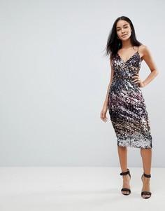 Расшитое пайетками платье миди с эффектом омбре Club L - Мульти