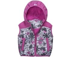 Жилет для девочки Barkito, серый с рисунком и розовой отделкой