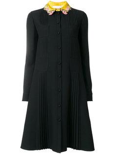 платье на пуговицах с цветочной отделкой на воротнике  Valentino