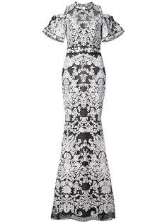 кружевное платье с короткими рукавами  Marchesa Notte