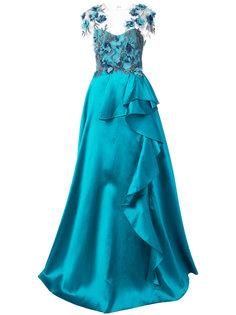 декорированное платье с цветами Marchesa Notte