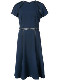 платье с кожаной отделкой и заклепками  Jonathan Simkhai