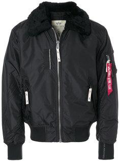 куртка-бомбер с меховым воротником Alpha Industries