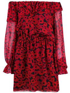 платье с принтом маков Saint Laurent