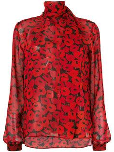 блузка с принтом маков Saint Laurent