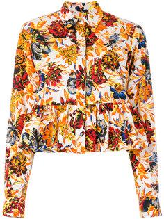 рубашка с цветочным принтом и баской MSGM