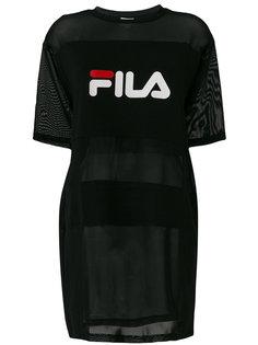 длинная прозрачная футболка с логотипом Fila