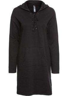Платье трикотажное на шнуровке (черный) Bonprix