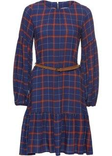 Платье клетчатое с воланом (синий/красный/белый в клетку) Bonprix