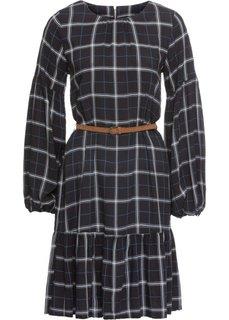 Платье клетчатое с воланом (черный/белый/синий в клетку) Bonprix