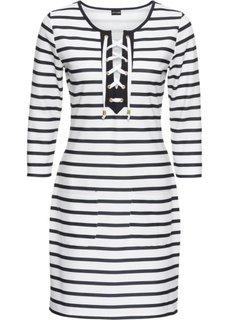 Платье трикотажное на шнуровке (белый/темно-синий в полоску) Bonprix