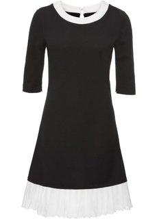Платье с плиссировкой (черный) Bonprix