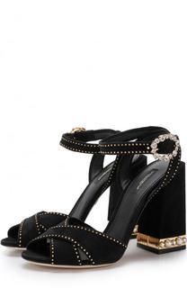 Замшевые босоножки Keira на массивном каблуке Dolce & Gabbana