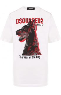 Хлопковая футболка свободного кроя с принтом Dsquared2