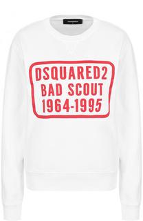 Хлопковый свитшот с контрастным логотипом бренда Dsquared2