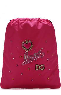 Текстильный рюкзак с аппликациями Dolce & Gabbana