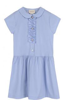 Хлопковое мини-платье с оборкой Gucci