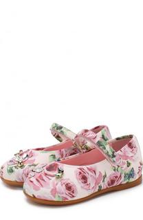 Туфли с принтом и кристаллами Dolce & Gabbana
