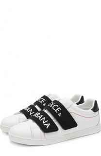 Кожаные кеды с контрастными застежками велькро Dolce & Gabbana
