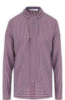 Шелковая блуза с принтом и воротником аскот BOSS