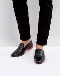 Черные кожаные лоферы с тиснением ASOS - Черный
