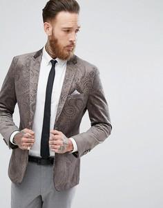 Бархатный пиджак приталенного кроя с золотистым тиснением Harry Brown - Серый