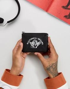 Кожаный бумажник с молнией и принтом ASOS - Черный