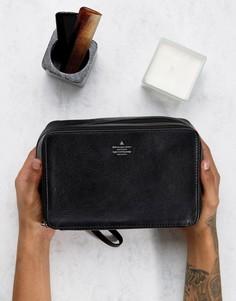 Черный кожаный несессер с серебристым тиснением ASOS - Черный