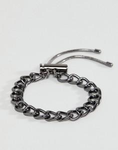 Браслет-цепочка с крупными звеньями цвета пушечной бронзы ASOS - Черный