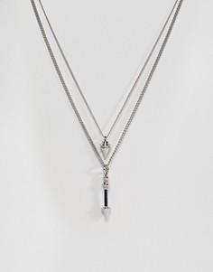Двухъярусное ожерелье с подвеской-стрелой ASOS - Серебряный
