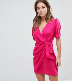 Платье мини с пышными рукавами ASOS PETITE - Розовый