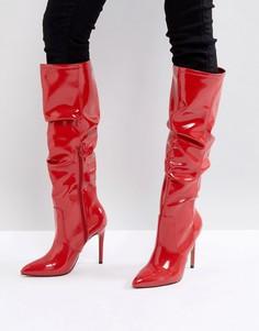 Сапоги с острым носком ASOS CRUSHED - Красный