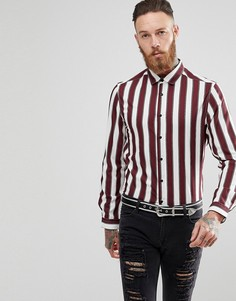 Рубашка в полоску классического кроя ASOS - Красный