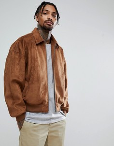 Светло-коричневая куртка оверсайз из искусственной замши ASOS - Рыжий
