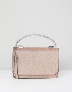 Блестящий клатч-футляр с отделкой камнями на ручке ASOS - Розовый
