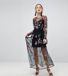 Сетчатое платье макси с цветочной вышивкой ASOS TALL PREMIUM - Черный