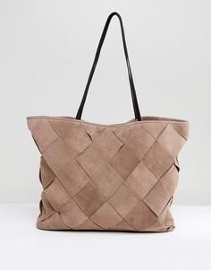 Замшевая сумка-шоппер с плетеной отделкой ASOS - Светло-бежевый