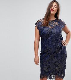 Платье-футляр металлик без рукавов с глубоким вырезом Paper Dolls Plus - Темно-синий