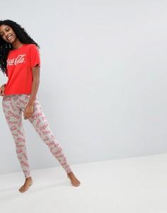 Пижама из футболки и леггинсов с надписью Coca Cola ASOS - Красный